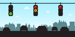 Traffic Lights - Cars in City. With Skyline Silhouette Stock Photography