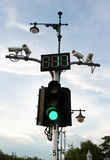 Traffic lights with CCTV. Traffic safety in the capital Royalty Free Stock Image