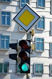 Traffic lights in the centre of Prague Royalty Free Stock Photo