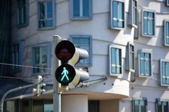 Traffic lights in the centre of Prague Stock Image