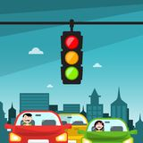 Traffic Lights in City. Cars with Buildings. Traffic Lights in City. Cars with Buildings on Background vector illustration