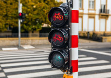 Traffic lights in city Luxembourg. Royalty Free Stock Images