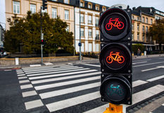 Traffic lights in city Luxembourg. Stock Images