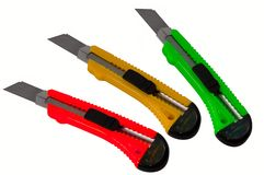 Traffic lights color paper cut knives Stock Photos
