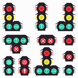 Traffic lights colored symbols Stock Photos