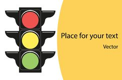 Traffic lights. The concept of road traffic information of cars. Banner with space for text. Vector flat design style. vector illustration