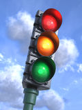 Traffic lights on crossroads, sky background 3d Royalty Free Stock Image