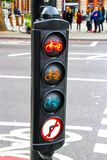 Traffic lights for cycle crossing stock images