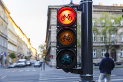 Traffic lights for cyclists in Budapest Stock Image