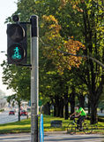 Traffic lights for cyclists in eastern Europe. Royalty Free Stock Images