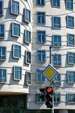 Traffic lights and Dancing house, Prague Royalty Free Stock Photos
