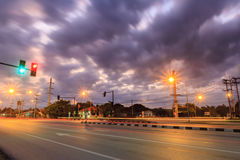 Traffic lights in dawn. And Cloud Royalty Free Stock Image