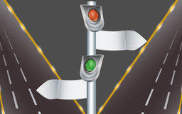 Traffic lights with direction indicators and highw. Signpost with traffic light and two night-lit roads Stock Image