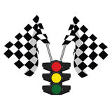 Traffic lights and finish, start flag. Traffic lights and finish flag, start flag, racing flag Royalty Free Stock Photo