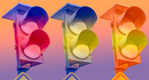 Traffic lights flashing yellow Royalty Free Stock Photography