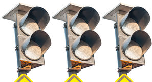 Traffic lights flashing yellow Royalty Free Stock Photo