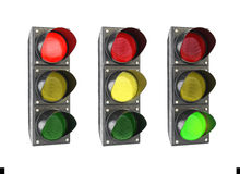 Traffic lights glowing in turn ,. Isolate on a white background Royalty Free Stock Photo