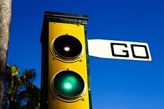 Traffic lights with the Go sign. royalty free stock photos