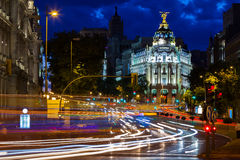 Traffic lights on Gran via street at night Stock Photography