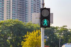 Traffic lights with the green light lit.  Royalty Free Stock Images