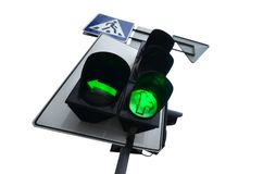 Traffic lights with the green light lit isolated on white. Optical device that supplies light signals that regulate the movement of road transport stock images