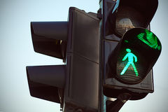 Traffic lights with the green light lit Stock Images