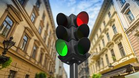 Traffic lights on green and red Stock Photos