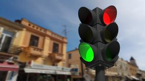 Traffic lights on green and red Royalty Free Stock Image