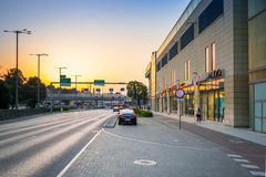 Traffic lights of Grunwaldzka Avenue in Gdansk at sunset, Poland. Grunwaldzka Avenue Stock Image
