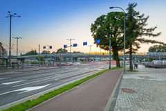 Traffic lights of Grunwaldzka Avenue in Gdansk at sunset, Poland. Grunwaldzka Avenue Royalty Free Stock Photo