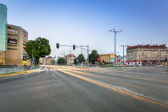 Traffic lights of Grunwaldzka Avenue in Gdansk at sunset, Poland. Grunwaldzka Avenue Stock Photography
