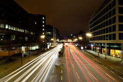Traffic lights in Hamburg city at night Royalty Free Stock Images