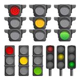Traffic lights icon set, cartoon style royalty free illustration