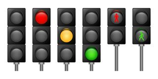 Traffic lights icons set, realistic style royalty free illustration