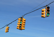 Traffic Lights In Front Of Blue Sky Royalty Free Stock Image