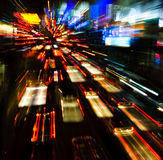 Traffic Lights In Motion Blur Stock Image