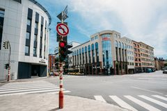 Traffic lights at the intersection Route d'Arlon. LUXEMBOURG, LUXEMBOURG - JUNE 17, 2016: Traffic lights at the intersection Route d'Arlon in city stock image
