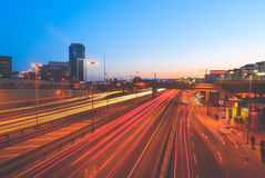 City at night with traffic lights Royalty Free Stock Images