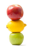 Traffic lights made from fruits. On top of each other isolated on white background Stock Photo