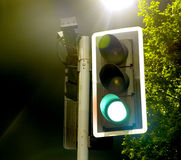 Traffic Lights near a Bright Lamp at Night. Lights on Green for Go Royalty Free Stock Photography