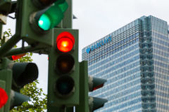 Traffic lights next to Barclays bank Stock Photography