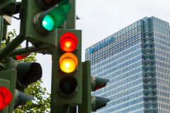 Traffic lights next to Barclays bank Royalty Free Stock Photography