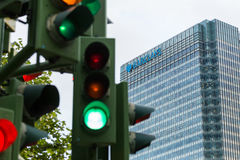 Traffic lights next to Barclays bank Royalty Free Stock Photos