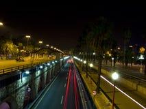 Traffic lights at night Stock Image