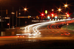 Traffic lights at night Stock Image