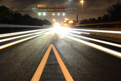Traffic lights. Night traffic lights in miami. good use like background royalty free stock photo