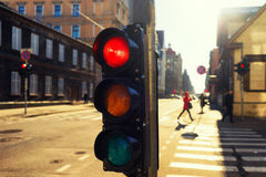 Traffic lights at night outdoors at sunset Stock Photography