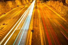 Traffic lights. Night shot on the highway royalty free stock images