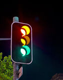 Traffic Lights at Night Royalty Free Stock Photos
