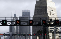 Traffic Lights On Bridge Royalty Free Stock Image